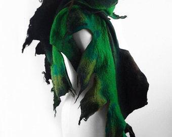 Feather Scarf Felted Scarf Nunofelt Scarf FEATHER SCARF Shawl Nuno felt Scarves Felt  Wrap Nuno felt wearable art Silk  Fiber Art