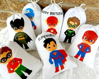 """Super Heroes Favor Bags Teens Group 3 For Treat's or gifts Birthday party, Personalized 5"""" X 7"""" or 6"""" X 8"""" Qty 7"""