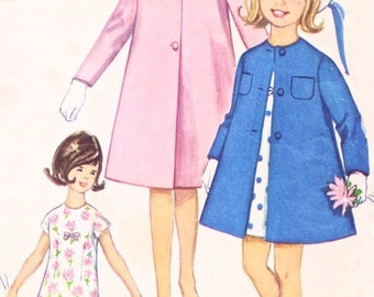60s CUTE Girls Dress and Coat Pattern Simplicity 5372 Vintage Sewing Pattern Detachable Collar Lovely Coat Kawaii Lolita Style UNCUT Size 12