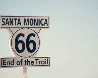 Route 66 Santa Monica Photography,  Los Angeles Photograph, LA print, pastel wall art, bohemian style, large poster size print, 30 x 45