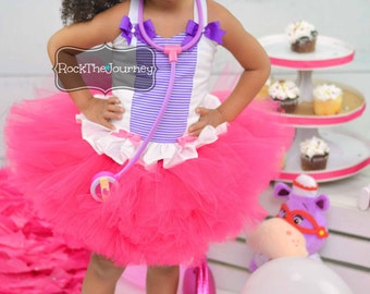 Doc McBirthday Girl Tutu Dress | Doctor Nurse Princess Party | Baby First Pink Purple Birthday Cake Smash Pageant Outfit Halloween Costume 1