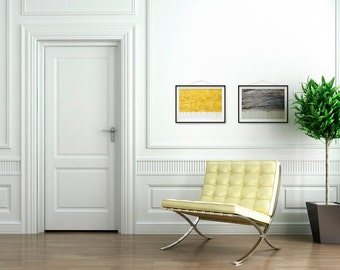 Ginkgo Leaves Ochre Yellow Grey Wall Art – Botanical Print Set of 2 – Housewarming Gift – Nature Photography – For Her – 21x30cm – Unframed