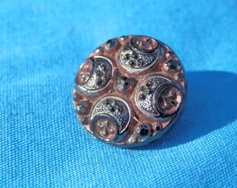 Vintage Black Glass Tinted Button