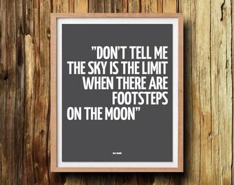 Typografie citaat Don't tell me de hemel is de grens typografie kunst afdrukken offerte poster inspirerende citaat Home decor kunst aan de muur