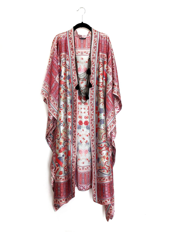 Maxi Length Kimono Jacket Beach Cover Up Kaftan In Pink