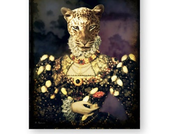 "Leopard Art Print Animal Art Anthropomorphic Wall Art Vintage Cat Artwork Animals In Clothes Home Decor (3 Sizes) ""The Leopard Queen"""