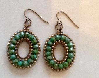 Turquoise Opaque Picasso Firepolish Czech Glass Earrings