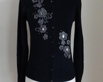 60's Black Sweater Beaded Cardigan Holiday Sweater Small