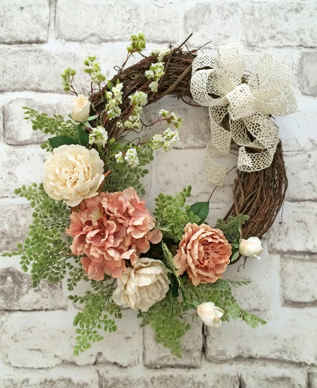 spring wreath front door wreath silk floral wreath. Black Bedroom Furniture Sets. Home Design Ideas