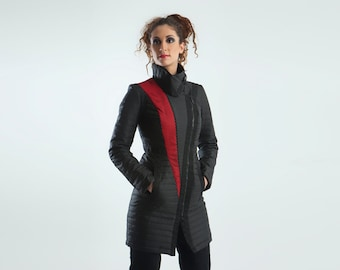 SALE! 40% OFF Futuristic coat black cyberpunk unique outwear quilted black red