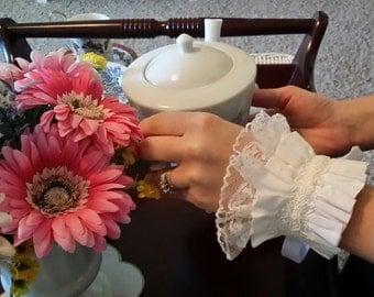 Handmade shabby chic white wrist cuff