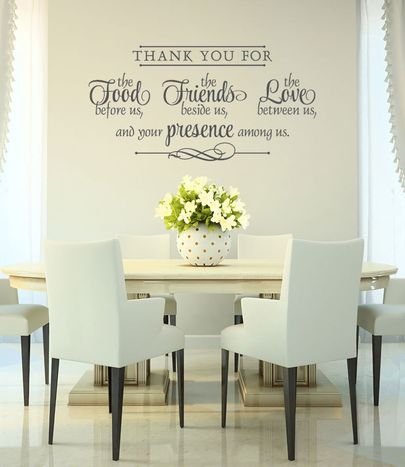 Vinyl wall decal thank you wall decal bless the food for Fun sayings for dining room wall art