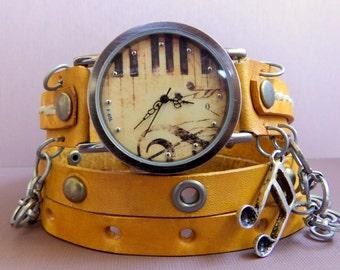 Music leather watch, Leather wrap around watch,  womens watch, Bracelet Watch, Chain watch, Fashion, Gift,