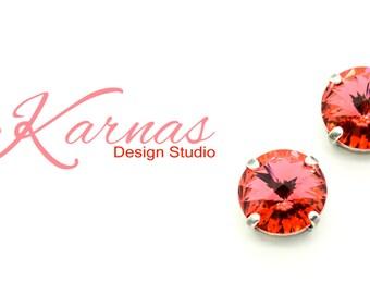 PADPARADSCHA STUD 12mm Crystal Rivoli Stud Earrings Made With Swarovski Elements *Pick Your Finish *Karnas Design Studio *Free Shipping*