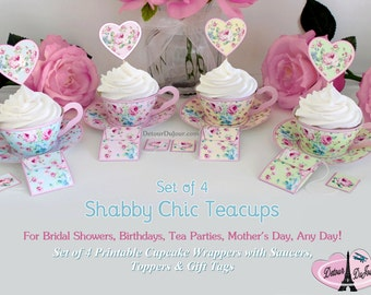 1/2 OFF COUPON CODE, Tea Cups Set of 4 / Printable Tea Cup Cupcake Wrappers / Shabby Chic Teacups SCset- 001