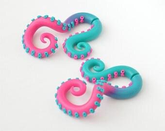 Fake Gauge Earrings or Ear Plugs, Octopus Gauge, Tentacles Gauge, Earrings Fake Gauges | 78162
