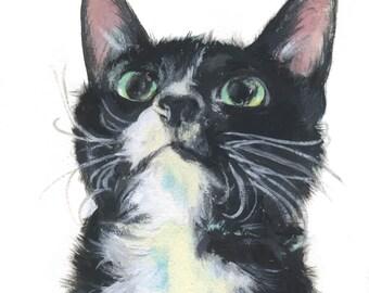 """6x6"""" // Custom Cat Portrait // Original Gouache Painting on Archival Watercolor Paper"""
