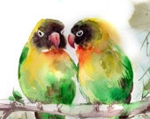 Love Birds Watercolor Painting Art Print, Bird Art, Watercolour Art