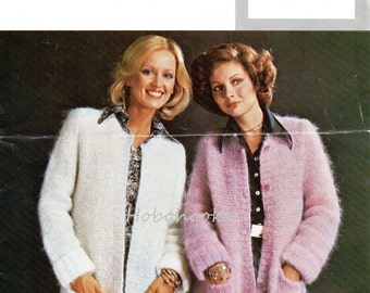 Knitting Pattern Mohair Jacket : 3/4 Sleeve Womens Mohair Cardigan Vintage Knitting