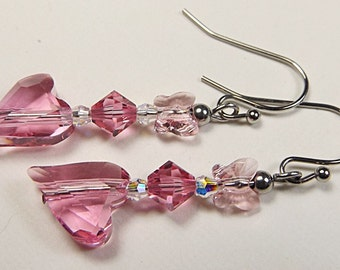Pink Heart Earrings, Heart Earrings, Stainless Steel Earrings, Crystal Earrings. Pink Crystal Earrings, Swarovski Crystals