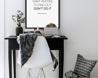 Wall Poster CHINESE PROVERB Quote Print, Typography Art, Wall Decoration, Printable Large Wall Art, Black and White 50x70 Poster