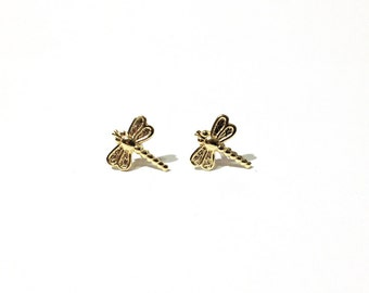 Dragonfly studs - Dragonfly  earrings - Tiny gold brass dragonfly studs earrings with sterling silver posts