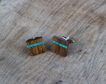 WOODEN CUFFLINKS Square Spalted WALNUT Wood with turquoise inlay