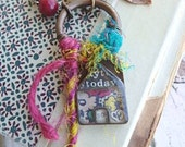 No Place Like It- artisan resin house pendant. vintage beaded chain. house bead. colorful sari. Indie boho beaded necklace. Jettabugjewelry