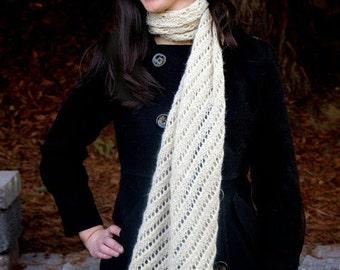 Cream Alpaca Hand Knitted Shawl