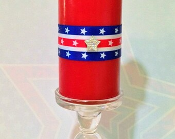 Stars and Stripes - USA Decor - Independence Day - Uncle Sam Decor - Patriotic Centerpiece - Red White and Blue - Patriotic Candle - Red