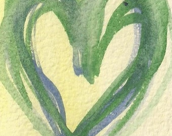 Heart ACEO - handmade, original, watercolour, collectable card
