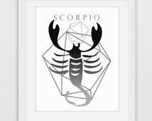 Scorpio Art, Zodiac Print, Scorpio Print, Printable Wall Art, Black Scorpio, Home Decor, Printable Zodiac, Zodiac Art, Downlodable Print