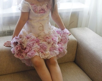 "Felted dress for girls ""Morning Rose"""