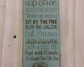 Camping rules Sign Camping Decor custom RV sign Primitive Rustic Vintage Style laser engraved personalized Typography Word Art Sign
