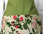 Three Pocket Half Apron - Waitress Cocktail Apron - Vendor Apron - Gardening  - Teacher Apron  - Women's Apron - Floral Apron