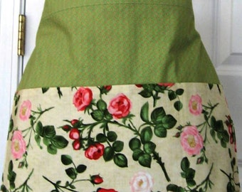 Three Pocket Half Apron - Waitress Cocktail Apron - Vendor Apron - Gardening  - Teacher Apron  - Women's Apron - Floral Apron