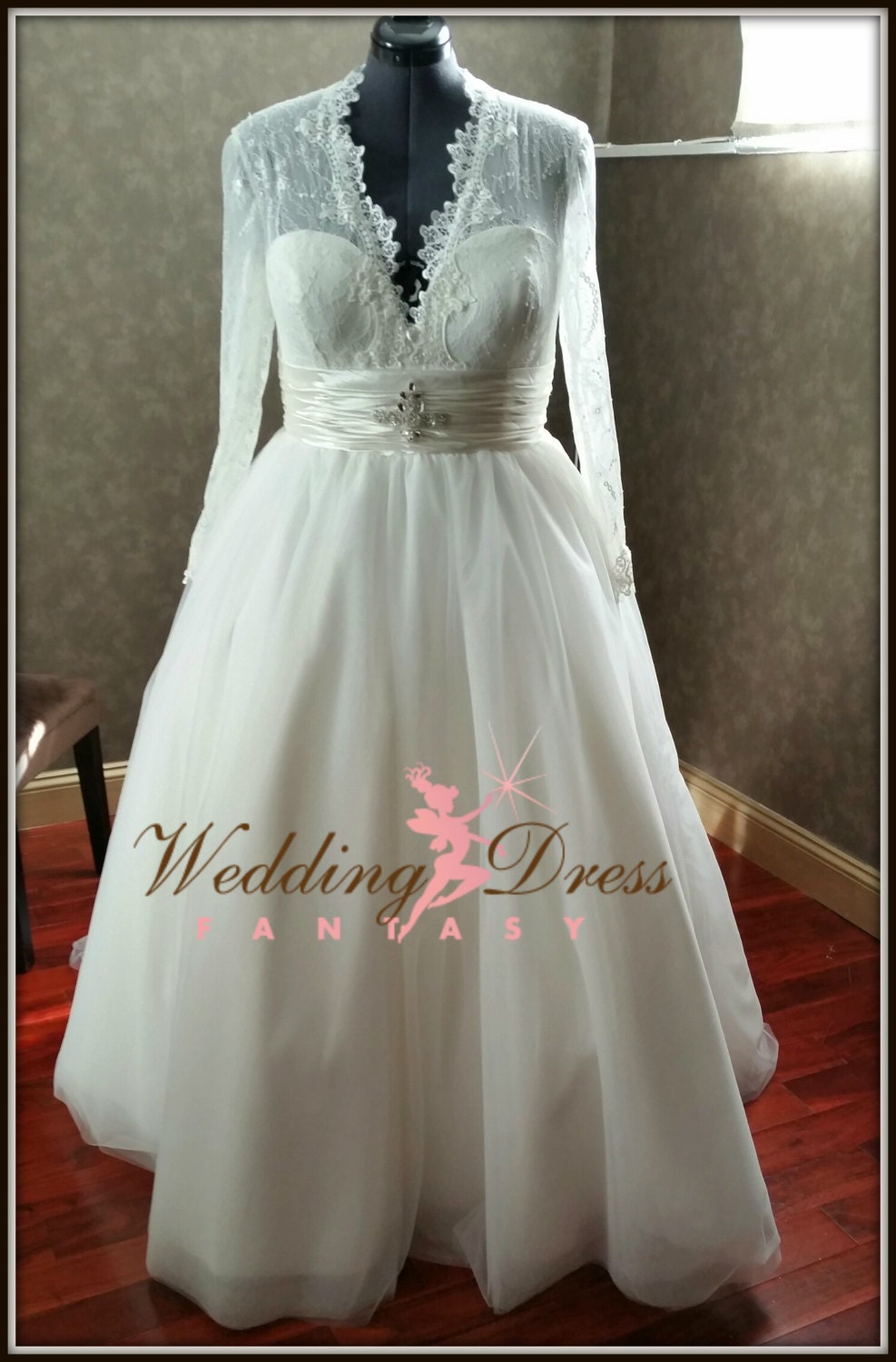Plus size wedding dress chantilly lace and by for Chantilly lace wedding dress