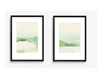 Watercolor painting, abstract landscape painting, set of 2 watercolor paintings, watercolor prints, watercolor landscape
