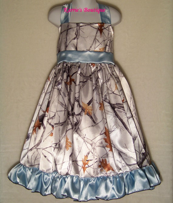 Camo flower girl dress snow camo blue halter satin for Snow camo wedding dresses