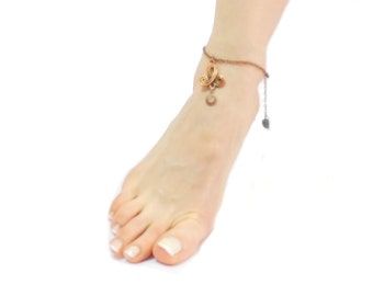 Mystic Ankle Bracelet, Symbol Copper Delicate summer jewelry, Chain Barefoot  Belly Dance Tribal Fusion Foot jewelry