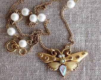 Vintage Rhinestone Gold Enamel Butterfly Faux Pearl Chain Necklace Sweet 16 by WinterPearlsDesigns Winter Pearls Designs