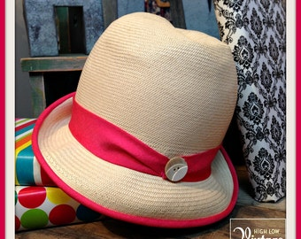 Vintage Cream Waxed Straw Hat with Pink Brim and Band Betmar New York