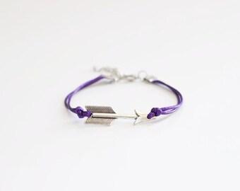 Arrow Purple Cord Bracelet