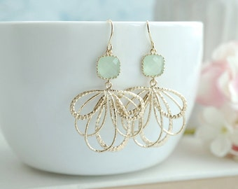 Feather Earrings Mint Earrings Green Earring Birthday Gift Gold Filigree Earring Dangle Earring Modern Gold Feather Earrings Bridesmaid Gift