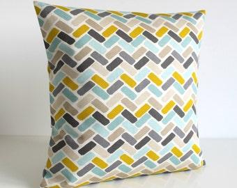 Block Pillow Cover, Pillow Cover, Cushion Cover, Throw Pillow, Pillow Case, Toss Pillow, Cotton Pillow Sham - Chock-A-Block Citrus