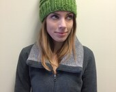 Green Knit Winter Hat With Pom Pom Bobble