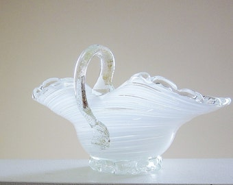 Murano Style Art Glass Candy Dish - Decorative Mid Century Bowl - Vintage Home Decor - Hand Blown Collectible Glass - Unique Gift Idea
