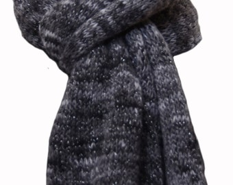 Hand Knit Scarf - Dark Grey Stormy Skies Keepsake Wool Cashmere & Silk