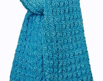 Hand Knit Scarf  - Rocky Mountain Powder Blue Silky Merino Cable Rib
