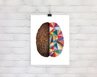 fun brain art 7x9 print | creative artistic anatomical colorful